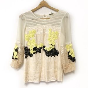 Gimmicks by BKE Cream Lace Top Size Small